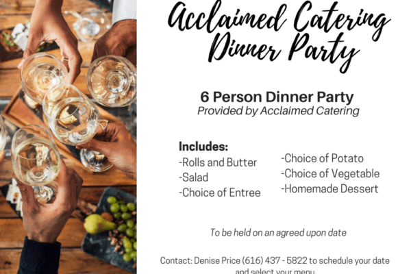 Acclaimed Catering Dinner Party Silent Auction 2020